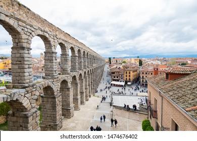 segovia, spain. 14th March, 2018: famous aqueduct of segovia in spain