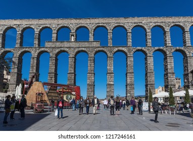 Segovia, Spain - 15th April 2016 - a Unesco World Heritage Site, Segovia is a city famous for its Christian, Muslim and Jewish heritage. Here in particular the famous Roman aqueduct