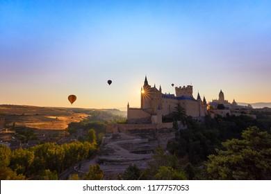 Segovia, Spain. The Alcazar of Segovia. Castilla y Leon. Globos aerostáticos