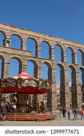SEGOVIA, SPAIN - April 27, 2019:  Landscape of Roman Aqueduct, the famous landmark of Segovia, Spain