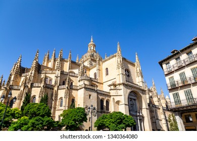 Segovia, Spain – Segovia cathedral in a summer day seen from plaza Mayor. It was the last gothic style cathedral built in Spain, during the sixteenth century.