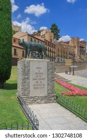 SEGOVIA, SPAIN - JULY 09 2016: A monument to Capitoline Wolf from legend of founding of Rome. A bronze sculpture of mythical she-wolf that breastfed Romulus and Remus