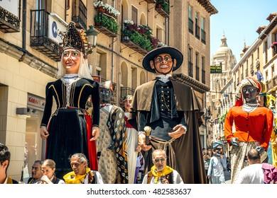 Segovia, Spain - June 29, 2014: Giants and big heads (Gigantes y Cabezudos) in Segovia Festival on June 29, 2014 in Segovia, Spain