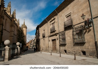 SEGOVIA, SPAIN - Mar 06, 2009: The historic Marques del Arco street in Segovia, Spain, by the Cathedral