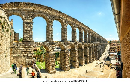 Segovia, Spain. March 16, 2017: Panoramic view of the famous ancient aqueduct in Segovia, Spain