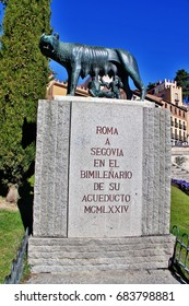 Segovia, Spain - March 16, 2017 - Loba Capitolina (Capitoline Wolf), sculpture of mythical she-wolf breastfed to the twins, Romulus and Remus, from the legend of founding of Rome, Plaza del Azoguejo