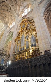 Segovia, Spain, May, 9, 2017. Segovia, Spain. Gothic cathedral interior. This cathedral in a beautiful example of medieval gothic architecture.