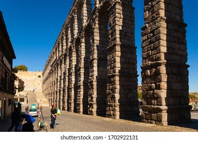 Segovia / Spain - OCTOBER 17, 2018: Segovia is a historic city northwest of Madrid in the Castilla y León region of central Spain, known for its rich architectural and historical heritage.