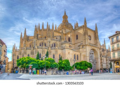 SEGOVIA, SPAIN, OCTOBER 4, 2017: Gothic cathedral viewed from Plaza Mayor at Segovia, Spain