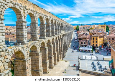 SEGOVIA, SPAIN, OCTOBER 4, 2017: People are walking towards famous aqueduct at Segovia, Spain