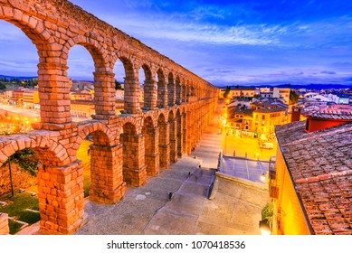 Segovia, Spain. Roman Aqueduct, from 1st century AD of Roman Empire, Castilla y Leon.