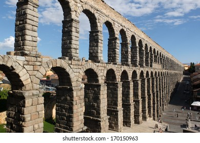 SEGOVIA, SPAIN -  SEPTEMBER 24:  Famous Roman aqueduct, on September 24, 2013, in Segovia, Spain.