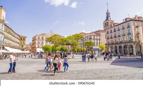 SEGOVIA, SPAIN - SEPTEMBER 6, 2015: Plaza Mayor in Segovia. Segovia, a city in the autonomous region of Castilla y Leon