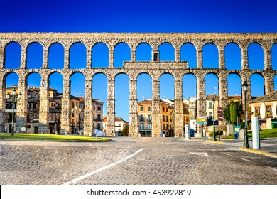 Segovia, Spain. Town view at Plaza del Artilleria and the ancient Roman aqueduct, Castilla y Leon