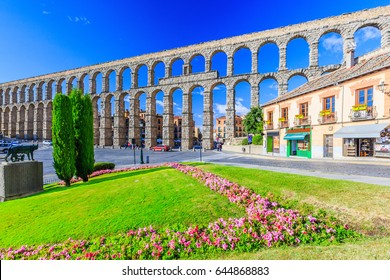 Segovia, Spain. View at Plaza del Azoguejo and the ancient Roman aqueduct.
