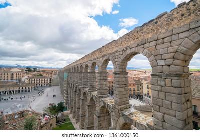 SEGOVIA,SPAIN, March 019.2019: The ancient Roman aqueduct in Segovia, ,Spain