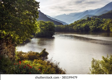 The Segre river near the Pyrenees. Near the village of Coll de Nargó, Lleida, Catalonia, Spain.