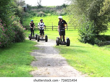 Segway ( two-wheeled, self-balancing scooter) experience in  the Avon Valley Country Park, Keynsham, Somerset, England. 28/08/2017