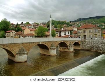 Seher-cehajina Bridge over the Miljacka River in Sarajevo, Bosnia and Herzegovina