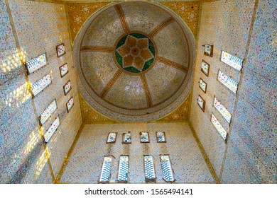 SEHWAN SHARIF, PAKISTAN - JUNE 2019:  Hazrat Laki Shah Sadar Shrine Picturesque Interior View of the Ceiling on a Sunny Blue Sky Day