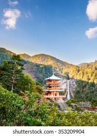 Seigantoji and Nachi Taisha is the 133 meter waterfall Nachi no Taki. The tallest waterfall in Japan
