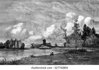 The Seine near Gravon, vintage engraved illustration. Magasin Pittoresque 1877.