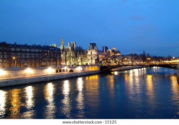 the Seine in Paris just after sunset