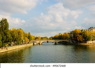 Seine river at autumn. Paris (France)