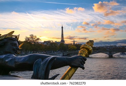 The Seine river and Eiffel Tower seen pont Alexandre III . Eiffel Tower is the French most visited monument .