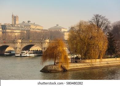 Seine River and historical landmarks around