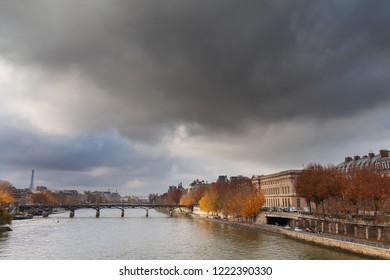Seine river in rainy day, Paris, France.