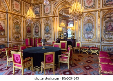 SEINE-ET-MARNE, FRANCE - MARCH 31, 2018: Council chamber of the Palace of Fontainebleau, one of the largest French royal castles. UNESCO World Heritage Site.