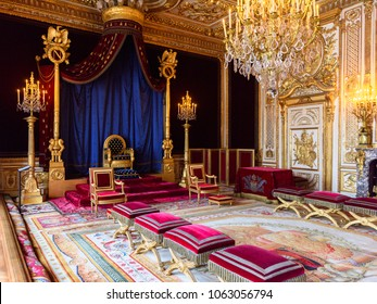SEINE-ET-MARNE, FRANCE - MARCH 31, 2018: Throne room of the Palace of Fontainebleau, one of the largest French royal castles. UNESCO World Heritage Site.