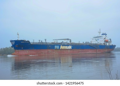 Seine-Maritime, France, March 2019, Cargo ship, Seine-Maritime, Normandy, France. Seine-Maritime is a department of France in the Normandy region of northern France.