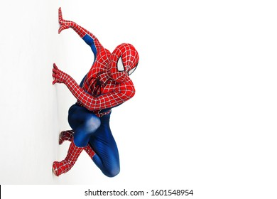 SEINT-PETERSBURG, RUSSIA - JUNE 29, 2016: Spider-man, a cosplay comic character. Guy cosplayer at cosplay Convention, spider-man costume from marvel
