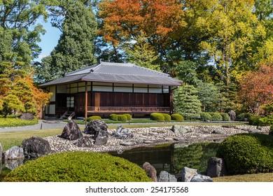 Seiryu-en garden and Teahouse at Nijo Castle in Kyoto, Japan