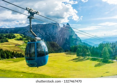Seiser Alm, Italy - 29 June 2018: Panorama cable car lift of Seiser Alm, Alpe Di Siusi in Italy