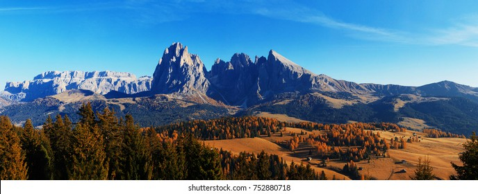 Seiser Alm meadow and Sassolungo (Langkofel) group landscape panorama view from north in autumn. Ultra high resolution image from the Dolomites for print and wide magazine spreads