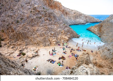 Seitan limania or Agiou Stefanou, the heavenly beach with turquoise water. Chania, Akrotiri, Crete, Greece.