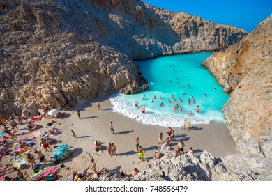 Seitan limania or Agiou Stefanou, the heavenly beach with turquoise water. Chania, Akrotiri, Crete, Greece on August 24, 2017.