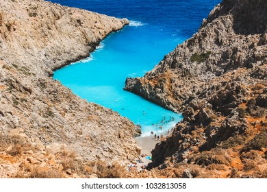 Seitan Limania beach from above, Crete, Greece