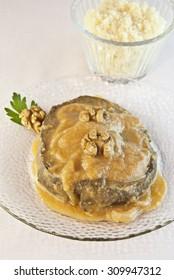 Seitan with sauce , vegetarian food