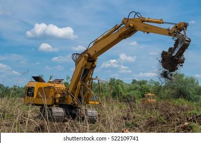 Seizure of forest land for agriculture.  Destruction of forests with digger.