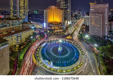 """'Selamat Datang Monument"""", also known as the Monumen Bundaran HI or Monumen Bunderan HI (for 'Hotel Indonesia roundabout'), is a monument located in Central Jakarta Indonesia. 22 September 2018"""