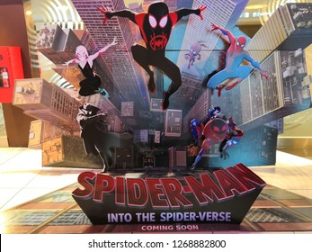 Selangor, Malaysia– December , 2018:  Big signboard of Movie Spiderman Into The Spider - Verse displays at the The Curve shopping centre, Selangor Malaysia.