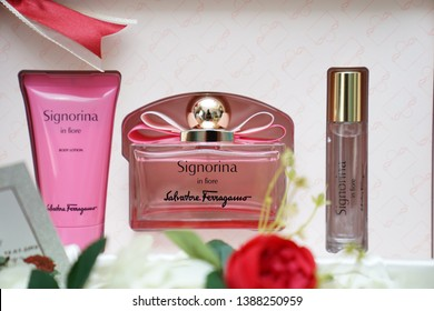 SELANGOR, MALAYSIA - 01ST MAY 2019; A gift set collection Signorina in fiore. Set consist of body lotion & perfume for woman. Salvatore Ferragamo brand is a manufacturer of perfume products in Italy