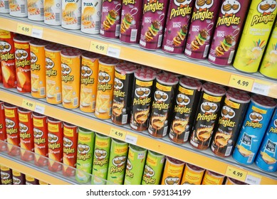 SELANGOR, MALAYSIA - 05 MARCH 2017 : Rows of Pringles Snacks inside hypermarket in Selangor, Malaysia. Owned by the Kellogg Company, Pringles is a brand of potato snack chips sold in 140 countries.