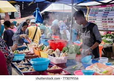 Selangor, Malaysia - 10th November 2017 : a great photo during street at morning market