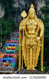 Selangor, Malaysia – 11 September 2018: The famous and iconic limestones with new rainbow painting at Batu Caves. The cave is the focal point of Hindu festival of Thaipusam in Malaysia.