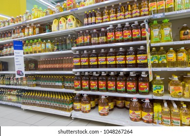 SELANGOR, MALAYSIA - 12 JUNE, 2017: Variety of food vinegar and cooking oil display on rack in hypermart at Puncak Alam, Malaysia